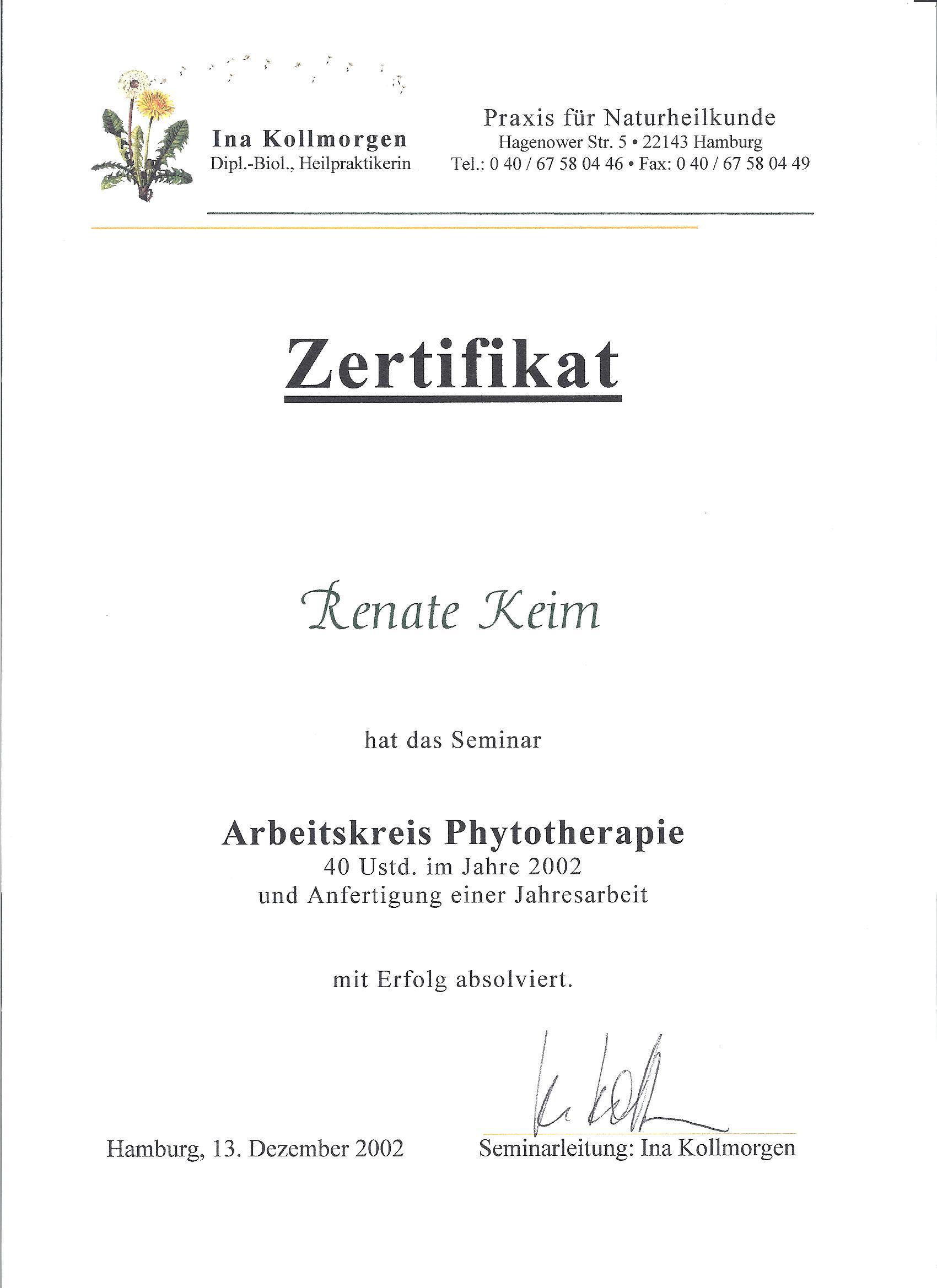 Arbeitskreis Phytotherapie 2002