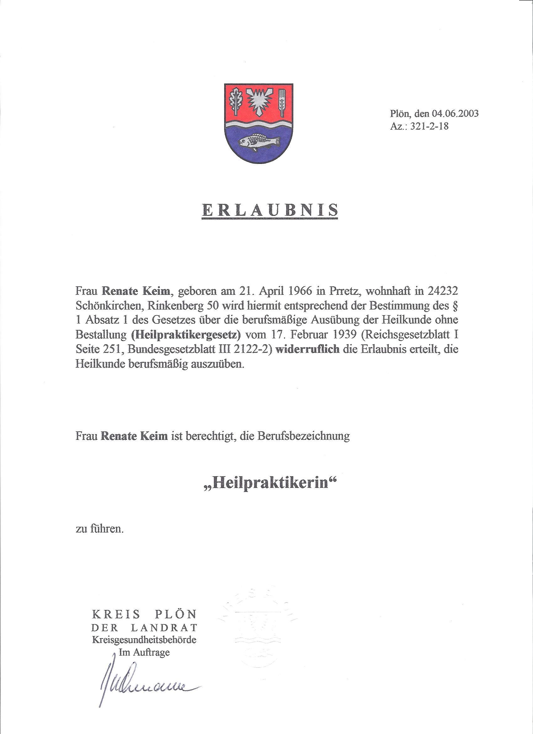 Urkunde Heilpraktiker 06/03
