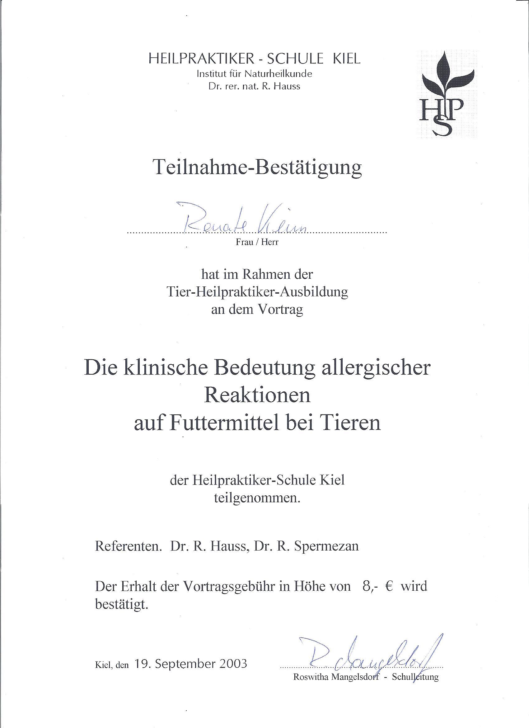 allergische Reaktionen auf Futtermittel 09/03